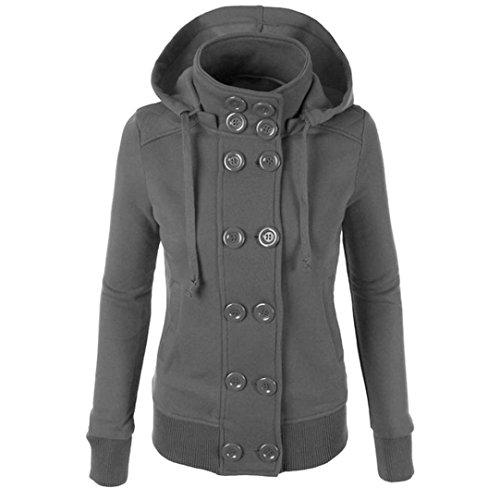 Hot Sale!Women Hooded Coat,Canserin Womens Winter Slim Double Breasted Hooded Coat Warm Hoodies Outwear (XXL, Grey) (2 Types Of People On Halloween)