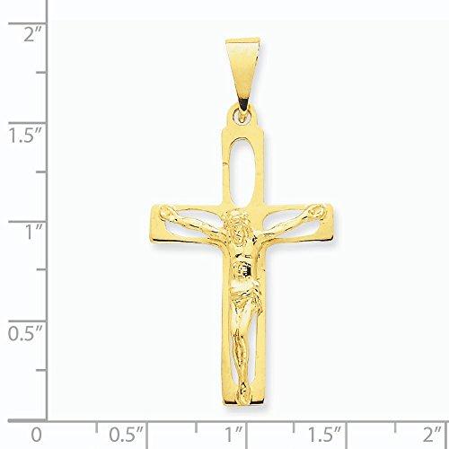 Poli 14 Carats Pendentif croix-Dimensions :  47,2 x 60 mm-JewelryWeb