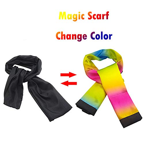 -  Magic Props, Change Color Scarf Magic Trick Props Black to Rainbow Silk Stripe Professional Magician Kids Funny Toys