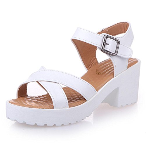Sandals Flat ,GOODCULLER Summer Rough Sandals Woman Open Toe Fish Mouth High Heel Outdoor Platform Shoes (US:7, White)
