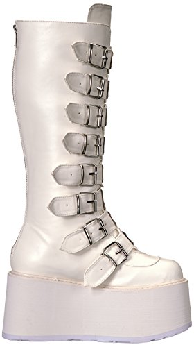 Vegan Wht DAMNED Leather Demonia 318 7wxqFtHp8
