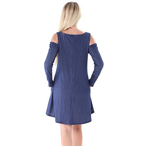 Dreamskull Blue Denim Women's Shoulder Sleeve Dresses Dark Long Cold FwF1rqz