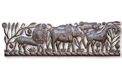 "it's cactus - metal art haiti New Jungle Panel, Giraffe, Lion and Elephant, Haiti, Recycled Oil Drum 36"" X 11"""