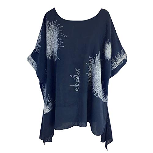 - Willow S Plus Size Women Short Sleeve Round Neck Dandelion Printing Cotton and Linen Loose T-Shirts Tops Blouses Navy