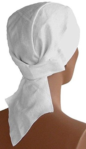 Solid White No Tie Strap Back With Sweatband Head Wrap Durag American by ZIZI SPORTS SUPPLY