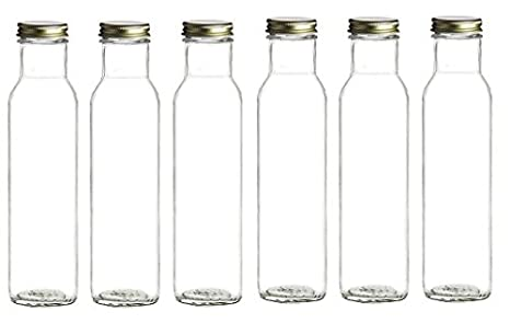 1d87426df95f Nakpunar 6 pcs 8 oz 250 ml Wide Mouth Empty Glass Bottles with Gold Lids-  Square bottom, straight side top - for Oil, Sauces, Milk, Water, Beverages