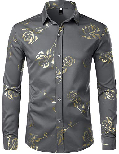 Medium Hipster - ZEROYAA Mens Hipster Gold Rose Printed Slim Fit Long Sleeve Dress Shirts/Prom Performing Shirts Z56 Gray Large