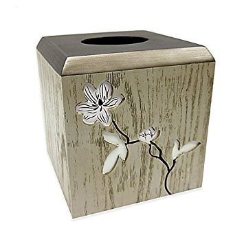Croscill Magnolia Floral Tissue Box Cover with Faux Wood Background, Measures 5.9