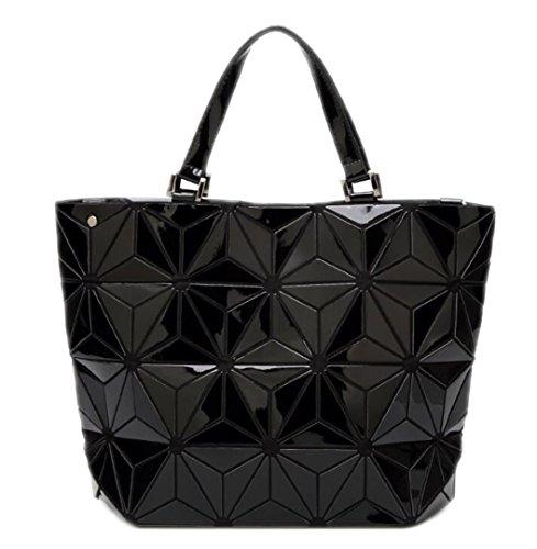 Bag Big Size Espejo cubo de Geometría Lentejuelas Bolso Llanura Plegable Bolsas Mujeres Tote small Black 14vHwx71Tq