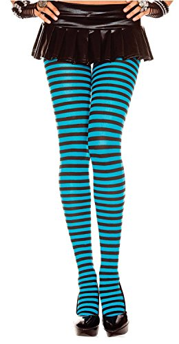 Everyday Striped Opaque Tights (One Size, Black/Turqouise) -