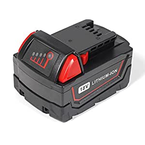 jolege [1Packs]18V 5.0Ah Replacement for Milwaukee M18 Battery M18B 48-11-1820 48-11-185048-11-1828 48-11-10 Cordless Power Tools
