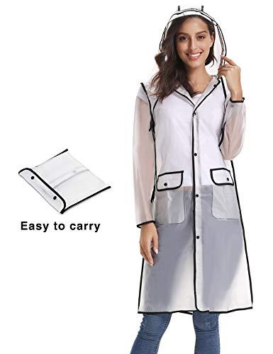 iClosam Women Waterproof Raincoat Portable Rain Poncho Packable Lightweight Hooded Long Rainwear