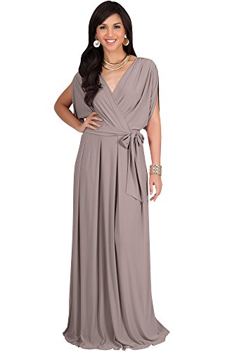 a9be545079514d KOH KOH Plus Size Womens Long Formal Short Sleeve Cocktail Flowy V-Neck  Casual Bridesmaid Wedding Guest Evening Cute Gown Gowns Maxi Dress Dresses  for Women ...