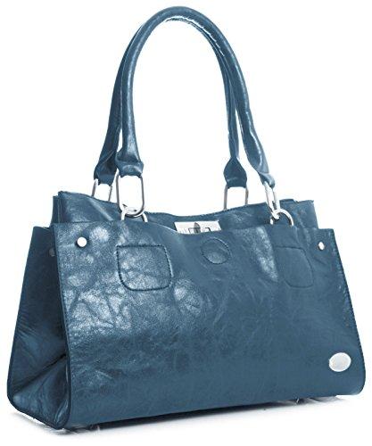 Big Handbag Shop lo donna spalla borsa in ecopelle blau