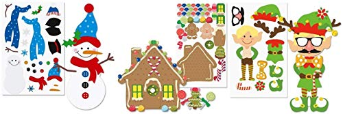 happy deals ~ 36 pc - Christmas Sticker Sheets - Decorate Your Own Snowman, Make a Gingerbread House and Dress an Elf - Bulk Class Pack