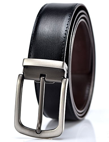 YoMeiJun Men's Leather Belt Reversible Italian Leather Adjustable 35mm Width Grain Square XXL (Italian Genuine Belt)