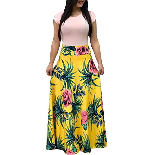 NRUTUP Women Short Sleeve Floral Printed Sundress Casual Swing Dress Maxi Dress Summer Beach Party Long Dress