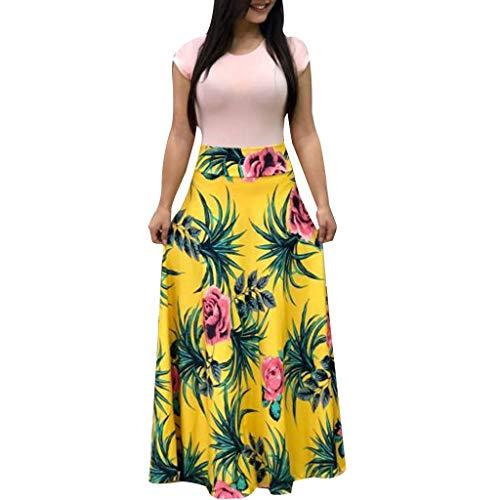 NRUTUP Women Short Sleeve Floral Printed Sundress Casual Swing Dress Maxi Dress Summer Beach Party Long Dress ()