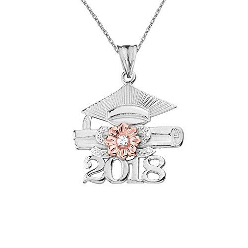 Dazzling 10k Two-Tone White Gold Diamond Class of 2018 Graduation Charm Pendant Necklace, 18
