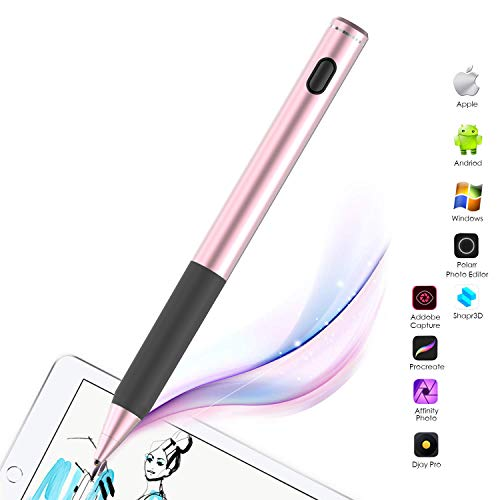 Active stylus pen, CiSiRUN Digitale Pen Surface Screen Pen 2 in 1 Rechargeable Built-in Battery Auto Power Off For Touch Screen Compatible with Apple/Ipad Stylus and Other Tablet 1.45mm Fine Point Sty
