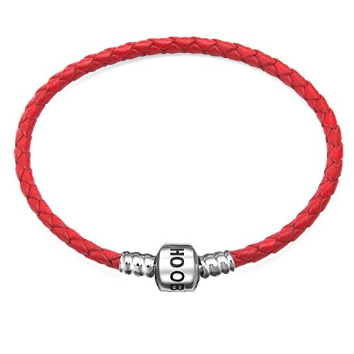 (Hoobeads Genuine Red Leather Woven Bracelet with 925 Sterling Silver Barrel Snap Clasp Charms Bracelet (18 cm-7.1 inches))