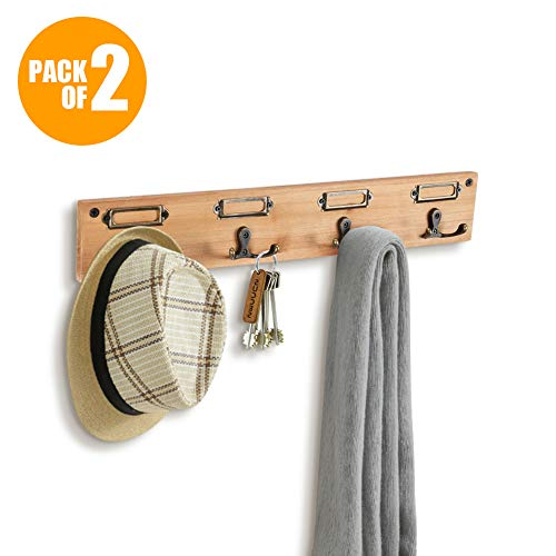 Wood Key Rack for Wall - Rustic Wall Key Hanger with Labels, 2 Pcs Wall-Mounted Key Rack on Pine Wooden Board Coat Rack Hanger ()
