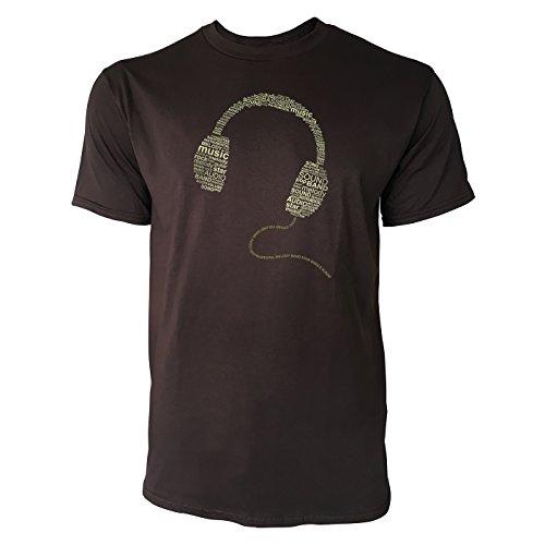 SINUS ART ® Typographie im Form eines Kopfhörers Herren T-Shirts in Schokolade braun Fun Shirt mit tollen Aufdruck