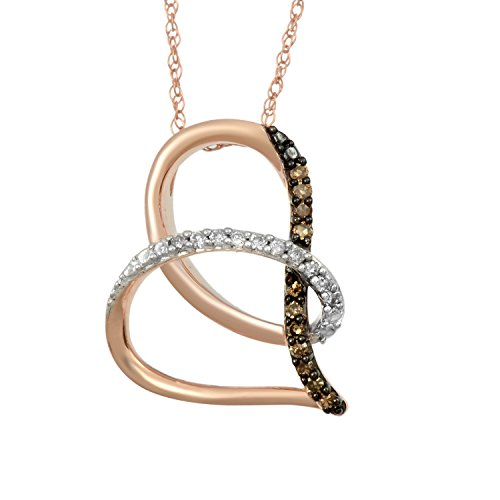 Pink Champagne Diamonds (Jewelili 10K Pink Gold Champagne and White Diamond Tilted Heart Pendant Necklace,1/8cttw. 18