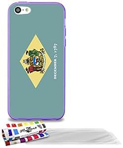 """Carcasa Flexible Ultra-Slim APPLE IPHONE 5C de exclusivo motivo [Delaware Bandera] [Violeta] de MUZZANO  + 3 Pelliculas de Pantalla """"UltraClear"""" + ESTILETE y PAÑO MUZZANO REGALADOS - La Protección Antigolpes ULTIMA, ELEGANTE Y DURADERA para su APPLE IPHONE 5C"""