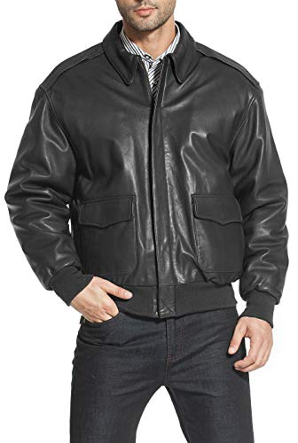 Landing Leathers Men's Air Force A-2 Goatskin Leather Flight Bomber Jacket, Black, X-Small