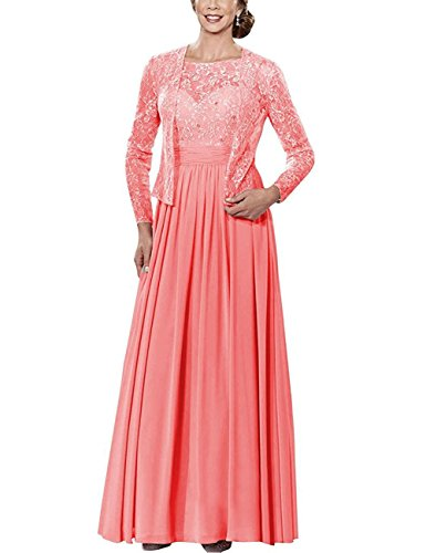 Cdress Mother Jacket Beads with Dresses Long Sleeves Formal Bride Long Gowns Coral Lace Chiffon The of rxrAaFw