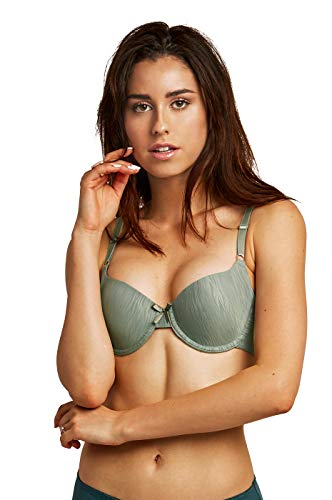 Women's Animal Stripes Jacquard Full Cup Bra (Pack of 2) (38B, SMGRN) (Bra Cup Stylish Support Soft)