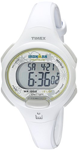 White Sports Watch (Timex Women's T5K606 Ironman Essential 10 Mid-Size White Resin Strap Watch)