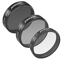 Neewer for DJI Phantom 3 Professional and Advanced, 3 Piece Filter Set: (1)Polarizer Filter + (1)ND4 Filter + (1)ND8 Filter, Not for DJI Phantom 3 Standard
