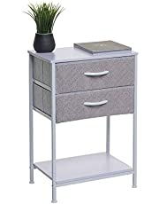 2 Drawer Nightstand with shelf, Bedside Table with shelf, End Table, Side Table - Modern 2 Drawer Storage Unit and 2 Drawer Dresser with Fabric Drawers - Perfect for The Bedroom, Office, Closet, Dorm and More (White)