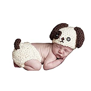 Handmade Newborn Baby Boy Crochet Doggy Hat Cream Brown Dog Hat Photography