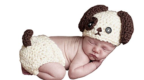 [Handmade Newborn Baby Boy Crochet Doggy Hat Cream Brown Dog Hat Photography] (Super Cute Infant Costumes)