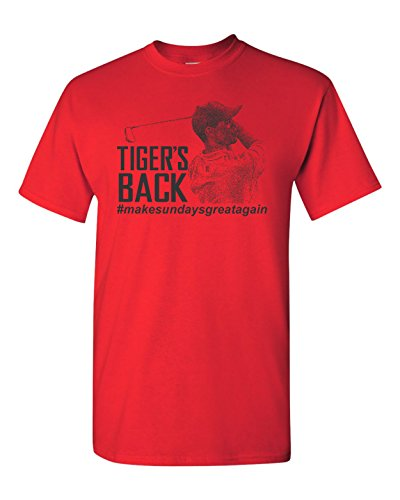 All Things Apparel Tiger's Back #Make Sunday Great Again Men's T-Shirt - 2XL Red (Tiger Woods Shirt)