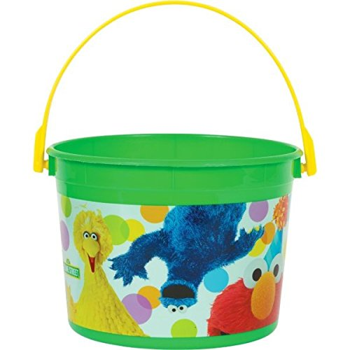 (amscan Sunny Sesame Street Party Favor Bucket, Lime Green/Yellow, 6 1/4