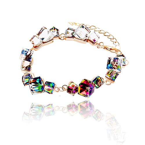 Uloveido Girls Multi Color Rainbow Adjustable Length Strand Metal Chain Bracelet Charms with Crystal Stones GR126 by Uloveido