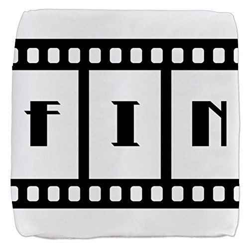18 Inch 6-Sided Cube Ottoman FIN: Old Hollywood Movie Ending by Truly Teague