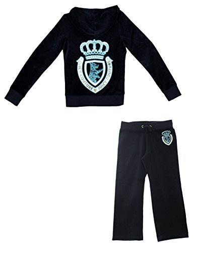 Price comparison product image Juicy Couture Girls Scottie Crown Tracksuit Hoodie and Pants (Small)