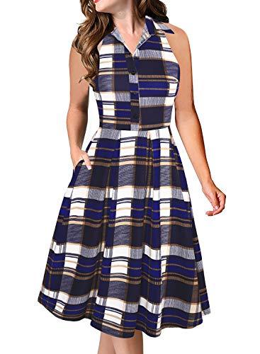 Fantaist Work Dress,Sleeveless Shirt Collar Midi Aline Office Dresses for Women Casual Summer (L, FT651-Blue - Sleeveless Plaid Dress