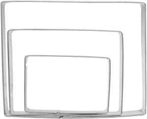 """Large Rectangle Cookie Cutter Set - 5"""",4"""",3"""" - 3 Piece - Stainless Steel"""
