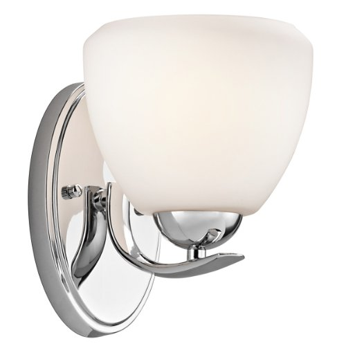 Kichler  45117CH Calleigh 1-Light Wall Sconce, Chrome Finish with Satin Etched Cased Opal Glass ()