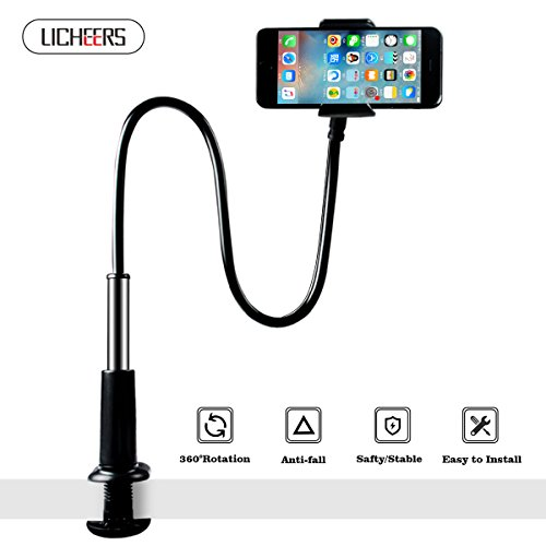Flexible Phone Stand, Licheers Lazy Phone Holder Long Arm Gooseneck, 360 Rotating Bracket for Universal Cell Phone, Safe Grip Securely Clamped to Desk, Bed Post, Counter Top (Black)