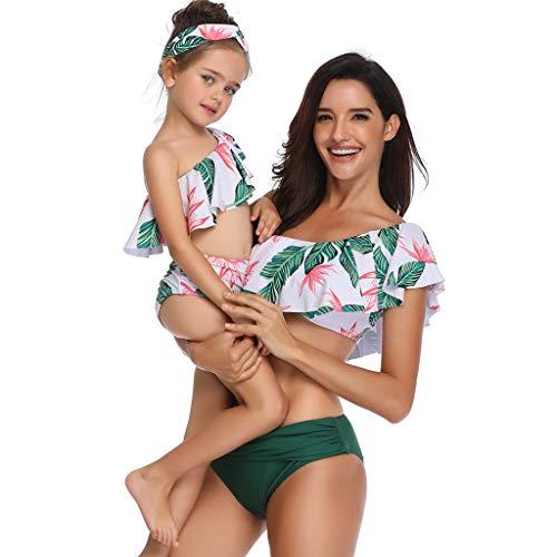CHIDY Women's Two Piece Swimsuit,Girls Two Piece Swimwear, Mother and Daughter Flounce Printed Bikinis Bathing Suit(Medium,Green-Women)