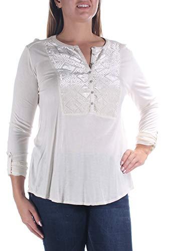 Lucky Brand Women's Burnout Velvet Bib Top, Birch, Large