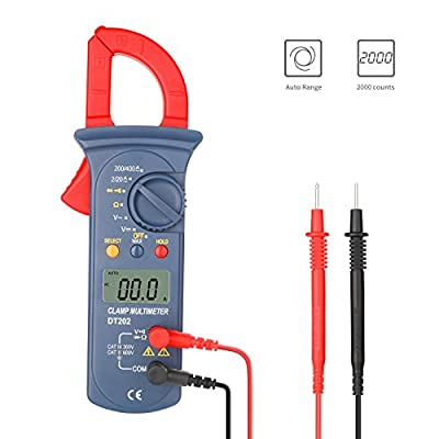 Digital Clamp Meter, Jellas DT-202 Digital Multimeter TRMS 2000 Counts Auto-Ranging Clamp Meter AC/DC Voltage, AC Current, Resistance, Diode and Continuity Tester.