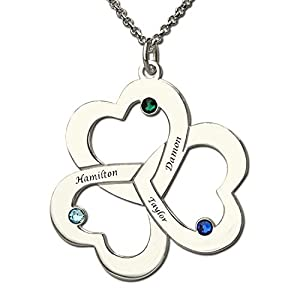 EVER2000 Personalized Heart Name Necklace with Birthstone, 925 Sterling Silver Triple Heart Love Interlocking Necklace Personalized Name Pendant Jewelry Gift for Family